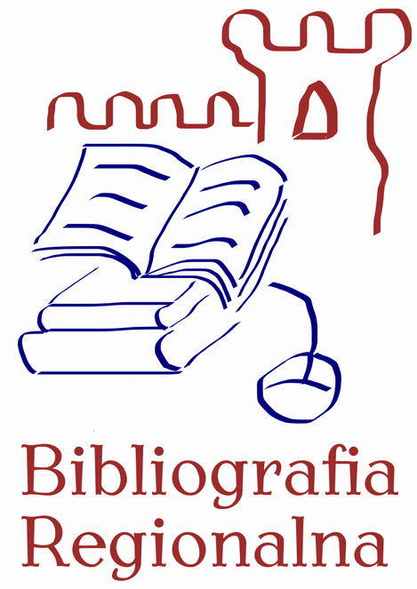 Logo Bibliografii Regionalnej.  Stos książek z myszka komputerową w tle zarys zamku. Podpis Bibliografia Regionalna.