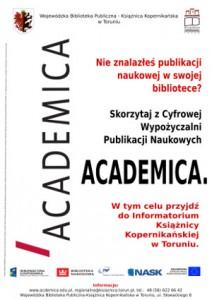 Plakat promujący Academicę - Cyfrową Wypożyczalnię Publikacji Naukowych