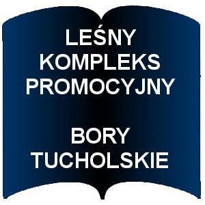Niebieski kształt otwartej książki. Napis: Leśny kompleks promocyjny Bory Tucholskie