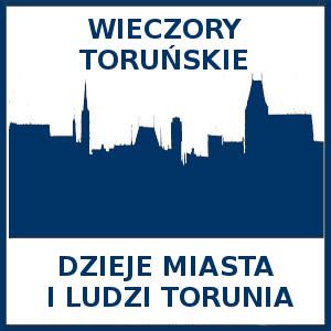 Kontur kwadratu. W nim zarys panoramy Torunia. Napis: Wieczory Toruńskie Dzieje miasta i ludzi Torunia