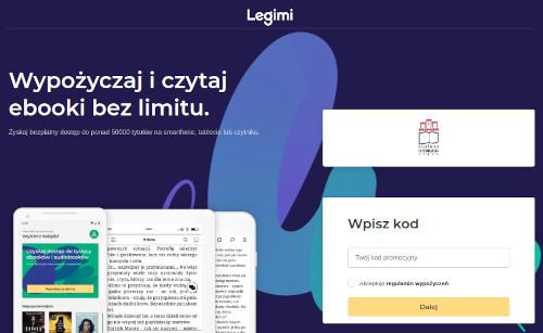 Widok strony legimi.pl/ksiaznicakopernikańska. Napis Wypozyczaj i czytaj ebooki bez limitu. Logo Ksiąznicy Kopernikańskiej w Toruniu. Poniżej formularz: Wpisz Kod - pole do wpisania kodu - pole akceptuję regulamin wypożyczeń - klawisz Dalej
