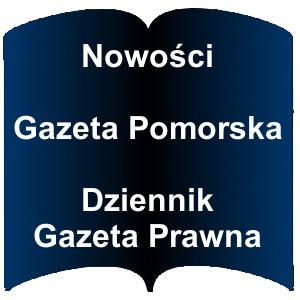 Niebieski kształt otwartej książki. Napis: Nowości Gazeta Pomorska Dziennik Gazeta Prawna