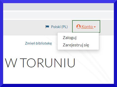 Fragment widoku katalogu internetowego. Widać w prawym rogu opcję konto. Po kliknięciu rozwija się wybór Zaloguj - Zarejestruj się