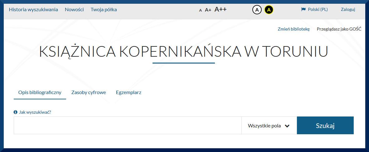 Widok strony katalogu internetowego Książnicy Kopernikańskiej.
