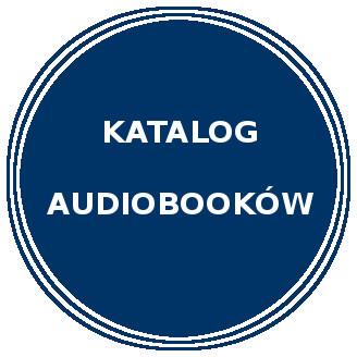 Niebieskie koło. Napis Katalog audiobooków