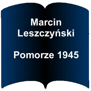 Niebieski kształt otwartej książki. Napis: Marcin Leszczyński Pomorze 1945