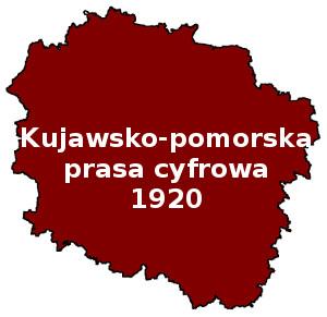 Czerwony obszar województwa kujawsko-pomorskiego. Napis: Kujawsko-pomorska prasa cyfrowa 1920