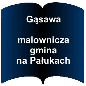 Niebieski kształt otwartej książki. Napis:  Gąsawa Malownicza gmina na Pałukach