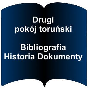 Niebieski kształt otwartej książki. Napis: Drugi pokój toruński bibliografia, historia, dokumenty