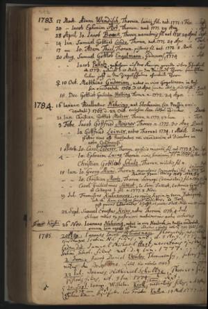 Metryka Toruńskiego Gimnazjum Akademickiego - ze zbiorów Książnicy Kopernikańskiej. Rękopis. Szczególy niewidoczne. Pod rokiem 1783 w czwartej linijce od góry pojawia się nazwisko Samuel Gottlieb Linde