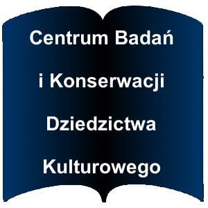 Niebieski kształt otwartej książki. Napis: Centrum Badań i Konserwacji Dziedzictwa Kulturowego