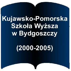 Niebieski kształt otwartej książki. Napis:  Kujawsko-Pomorska Szkoła Wyższa w Bydgoszczy (2000-2005)