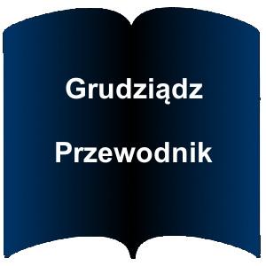 Niebieski kształt otwartej książki. Napis: Grudziądz Przewodnik