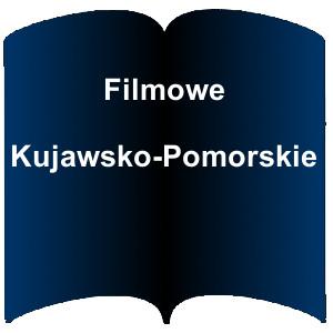 Niebieski kształt książki. Napis: Filmowe Kujawsko-Pomorskie