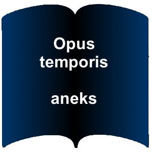 Niebieski kształt otwartej książki. Napis Opus temporis - Aneks