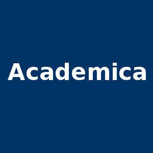 Niebieski kwadrat. Napis: Academica