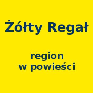 Żółty kwadrat. Napis: Żółty Regał region w powieści