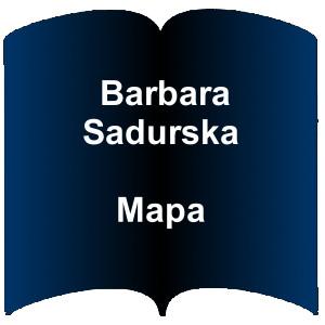Niebieski kształt otwartej książki. Napis; Barbara Sadurska Mapa