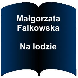 Niebieski kształt otwartej książki. Napis: Na lodzie