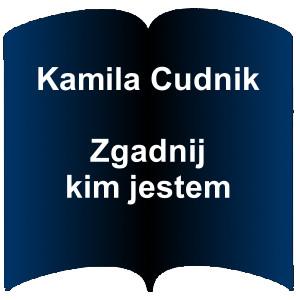 Niebieski kształt otwartej książki. Napis: Kamila Cudnik  Zgadnij kim jestem