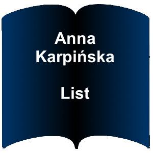 Niebieski kształt otwartej książki. Napis: Anna Karpińska List