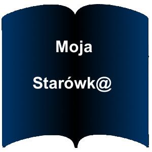Niebieski kształt otwartej książki. Napis: Moja Starówka